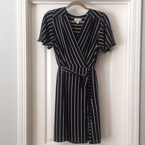 Monteau Black and White Stripe Tie Waist Dress